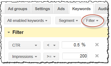 adwords filter